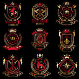 Vector classy heraldic Coat of Arms. Collection of blazons styli. Zed in vintage design and created with graphic elements, royal crowns and flags, stars, towers Vector Illustration