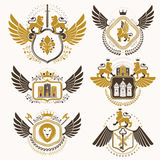 Vector classy heraldic Coat of Arms. Collection of blazons  Royalty Free Stock Photo