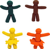 Vector clay human. Vector four clay human figures isolated on white background Royalty Free Stock Photo