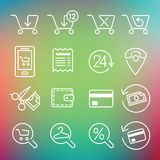 Vector clean icons set for web design and application user inter Royalty Free Stock Image