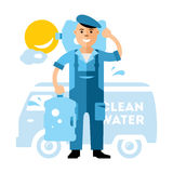 Vector Clean Water delivery. Flat style colorful Cartoon illustration. Royalty Free Stock Photos