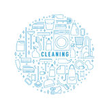 Vector cleaning concept. Vector trendy flat cleaning icon set. Template, concept or poster. Vacuum cleaner and protective gloves. Plunger, spray bottle and wipe Stock Photos