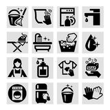 Vector cleaning icons. Elegant Vector Black Cleaning Icons Set Royalty Free Stock Photo