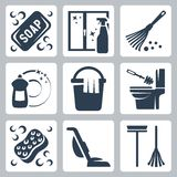 Vector cleaning icons set stock illustration