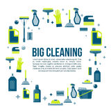 Vector cleaning items banner in flat style with spray bottle, bucket, mop and household supplies. Sanitary and Stock Photos