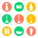 Vector cleaning products icons. Sponge and washing Royalty Free Stock Images