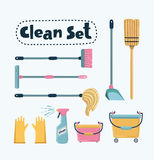 Vector cleaning set. Vector cartoon funny illustration of Cleaning Set. Mop, shovel, broom, bucket floor, pulvizator, rrezinovye gloves, brush long-handled royalty free illustration