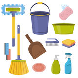 Vector cleaning tools. Flat design household supplies. Royalty Free Stock Images