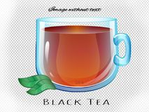 Vector clear glass cup of black tea. Trancparent cup and leaf Stock Photo