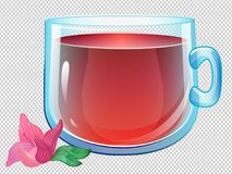 Vector clear glass cup with hibiscus tea. Cartoon vector clear glass cup with hibiscus tea, flower and trancparent cup Royalty Free Stock Photography