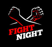 Vector clenched fists fight MMA, kick boxing, karate sport night Stock Photo