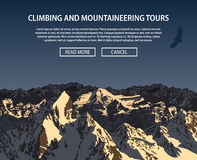 Vector climbing and mountaineering background theme, Trekking, hiking Stock Image