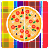 Vector clip art illustration of italian pizza on the plaid. Tasty italian pizza with tomato, sausage or salami, olive and mushrooms on the plaid. Vector clip art Stock Photos