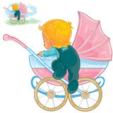 Vector clip art illustration of little baby crawls out of a baby carriage Stock Photography