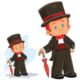 Vector clip art illustration with young boy in ballroom, period costume. Royalty Free Stock Photos
