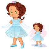 Vector clip art illustration with young girl in ballroom, period costume. Stock Photography