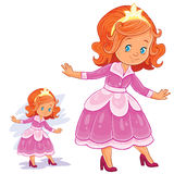 Vector clip art illustration with young girl in ballroom, period costume. Stock Photos