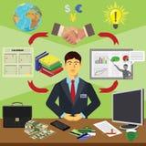 Vector clip art. Infographics education. Profession of the businessman financier. Color  clip art. Infographics education. Profession of the businessman Stock Image