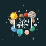 Vector clip art set of solar system. Kids poster with planet on space background. Universe texture for greeting cards, invitations royalty free illustration