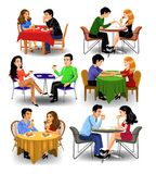 Vector clip arts of couples and coworkers eating out and drinking coffee. Isolated on a white background Royalty Free Stock Photo