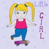 Vector clipart cartoon little girl. T-shirt graphics for kids. royalty free illustration