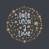 Vector, clipart, hand drawn. Once upon a time text vector illustration