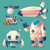 Vector clipart with objects for space exploration vector illustration