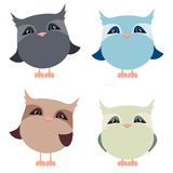 Vector Clipart Set cartoon owls. Lovely pets. Stock Photography