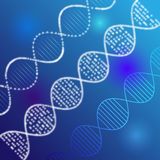 Vector clipart of shining DNA chain. Luminous white colored DNA. Blue coloured picture, molecule of deoxyribonucleic acid. Logotype of genetically modified Stock Photo