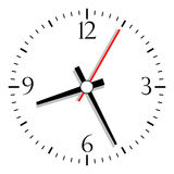 Vector clock. Numbered clock, vector illustration over white Royalty Free Stock Images