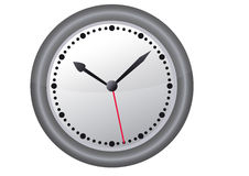 Vector clock. Vector abstract clock with red minute hand royalty free illustration