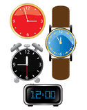 Vector clock. Clock, alarm clock and wristwatch (vector Vector Illustration