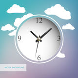 Vector clock with clouds on background Stock Photos