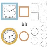 Vector Clock Constructor. Vector of types of clocks as a whole, and separated into parts. Isolated on white background vector illustration
