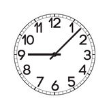 Vector clock face. Vector flat realistic clock face illustration. Realistic wall clock Royalty Free Stock Photography