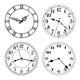Vector clock faces in black and white. Arabic and roman numerals. Stock Images