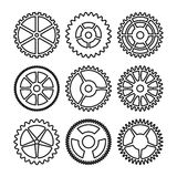 Vector Clock Gears. Outline Icons Set Clock Or Machine Wheel Mechanism. Mechanical, Technology Sign Isolated On White Background. Stock Image