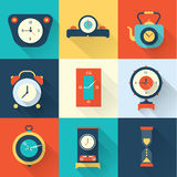 Vector clock icon flat style Stock Images