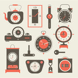 Vector clock icons set Royalty Free Stock Images