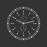 Vector clock illustration on a black background. Royalty Free Stock Photography