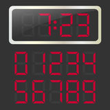 Vector clock with red glowing digital numbers Royalty Free Stock Images