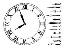 Vector clock and set of hands. Vector clock dial with roman numbers and set of clock hands Royalty Free Stock Image