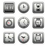 Vector clock  symbols. Vector clock and time symbols isolated on white background Royalty Free Stock Image