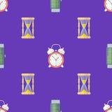 Vector clock watches seamless pattern Stock Photos