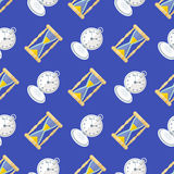 Vector clock watches seamless pattern Royalty Free Stock Photos