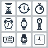 Vector clocks icons set Royalty Free Stock Image