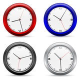 Vector clocks set. A four vector clocks icon on white vector illustration