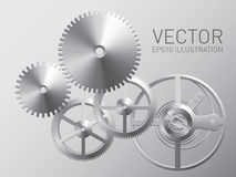 Vector clockwork with metal gears and cogwheels Stock Photo
