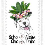 Vector close up portrait of pitbull dog, wearing the exotic flower crown. Boho chic Stock Photography