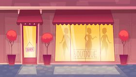 Vector closed cartoon boutique with illuminated shop-window Stock Images